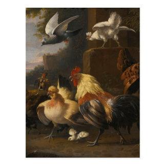 Eagle, een Cockerell, Kippen, een Duif tijdens de Briefkaart