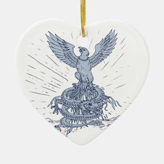 Eagle en het Trekken van de Bergen van de Draak Keramisch Hart Ornament