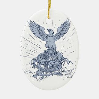 Eagle en het Trekken van de Bergen van de Draak Keramisch Ovaal Ornament
