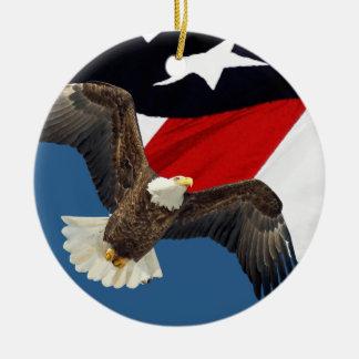Eagle en Vlag Rond Keramisch Ornament