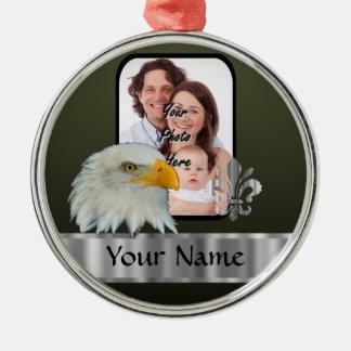 Eagle Zilverkleurig Rond Ornament