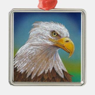 Eagle Zilverkleurig Vierkant Ornament
