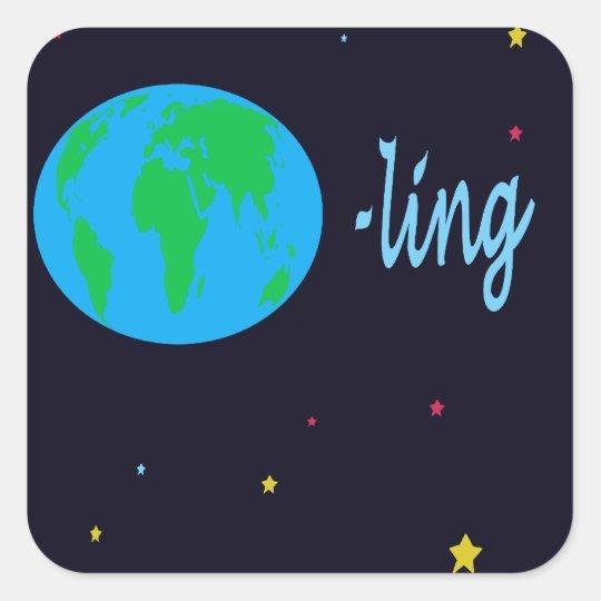 Earthling Vierkante Sticker
