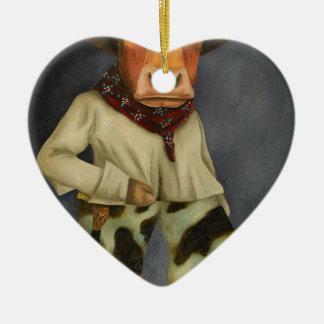 Echte Cowboy 2 Keramisch Hart Ornament
