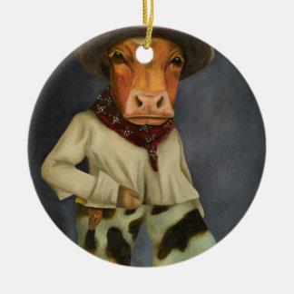 Echte Cowboy 2 Rond Keramisch Ornament