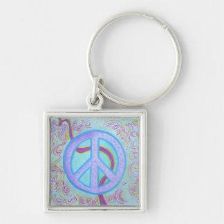 Echte zilveren keychain - Vrede Zilverkleurige Vierkante Sleutelhanger