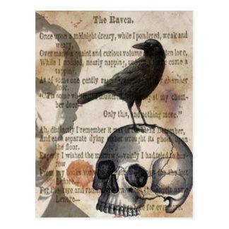 Edgar Allan Poe de de Schedel en Vogel van de Raaf Briefkaart