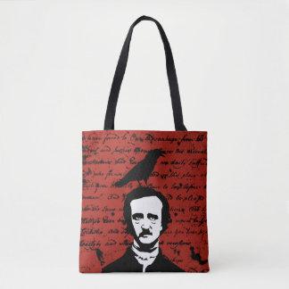 Edgar Allan Poe met Zwarte Raaf op Rood Draagtas