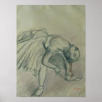 Edgar Degas | Danser die haar Pantoffel, c.1865 Poster