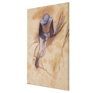 Edgar Degas | Jockey gebogen voorwaartse status Stretched Canvas Afdruk