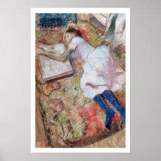 Edgar Degas | Lezer die, c.1889 liggen Poster