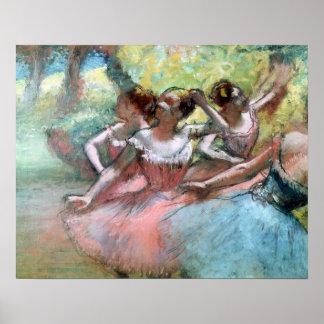 Edgar Degas | Vier ballerina's op het stadium Poster