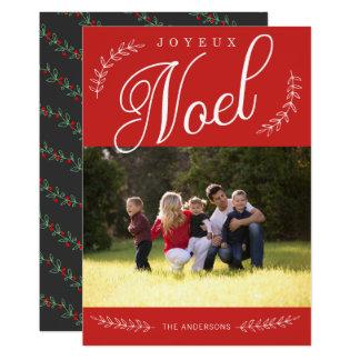 EDITABLE de Foto van Kerstmis van Joyeux Noel van 12,7x17,8 Uitnodiging Kaart