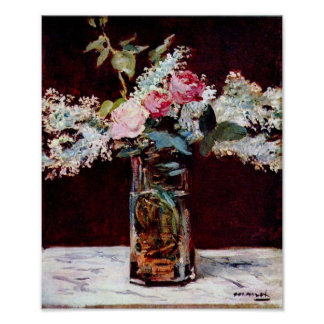 Edouard Manet - de sering en de rozen van het Stil Poster