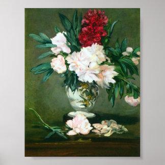 Edouard Manet - de Vaas van het Stilleven met Pioe Poster
