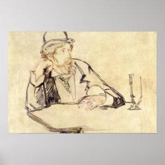 Edouard Manet - George Moore bij de Koffie Poster