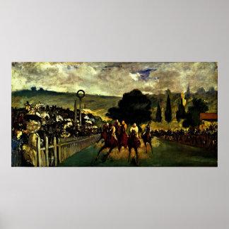 Edouard Manet - ras in Longchamp Poster