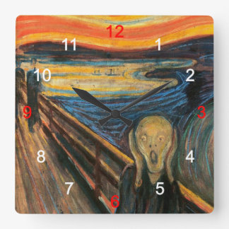 """Edvard Munch , """" The Scream """" Vierkante Klok"""