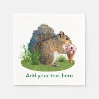 Eekhoorn die de Kegel van het Roomijs, Tekst eten Papieren Servet