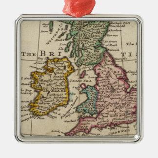 Een algemene kaart van Groot-Brittannië en Ierland Zilverkleurig Vierkant Ornament