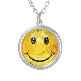 Een ander enkel smileygezicht zilver vergulden ketting