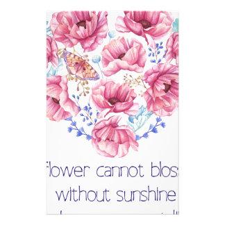 Een bloem kan niet tot bloei komen briefpapier