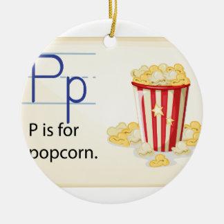 Een brief P voor popcorn Rond Keramisch Ornament