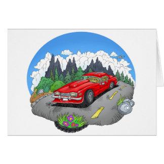 Een cartoonillustratie van een auto briefkaarten 0