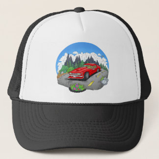 Een cartoonillustratie van een auto trucker pet