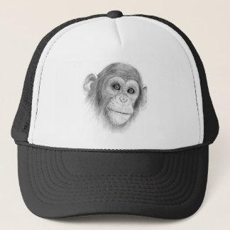 Een chimpansee, niet Monkeying rond Schets Trucker Pet