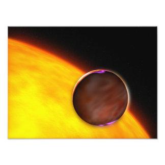Een close-up van een extrasolar planeet foto print