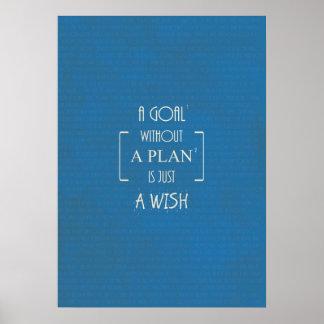 Een doel zonder een Plan is enkel een Wens citeert Poster