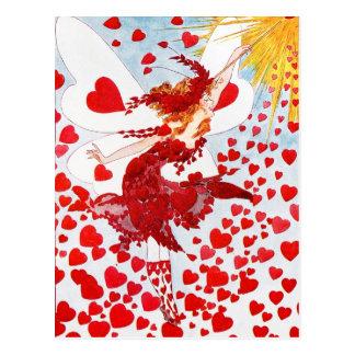 Een douche van Rode Harten van de Fee van Briefkaart