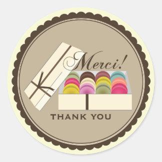 Één Dozijn Franse Macarons Merci dankt u Ronde Sticker