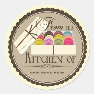 """Één Dozijn Franse Macarons """"van de Keuken van """" Ronde Sticker"""