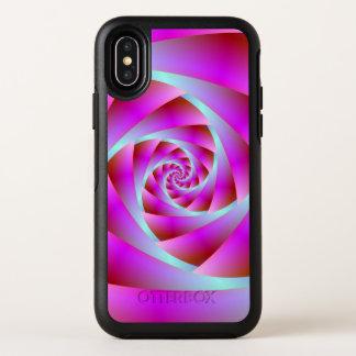 Een draai van Blauw en Roze OtterBox Symmetry iPhone X Hoesje