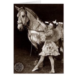 Een een meisje en Paard van het Circus Briefkaarten 0