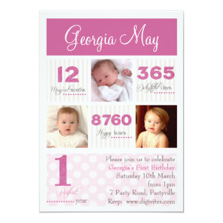 Één Eerste Verjaardag van het Meisje van het Baby 12,7x17,8 Uitnodiging Kaart