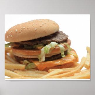 Een enkel klassieke hamburger poster