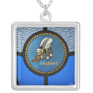 Één enkel Seabee logo Zilver Vergulden Ketting