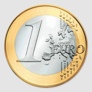 Één Euro Muntstuk (pak van 6/20) Ronde Sticker