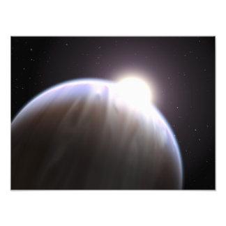 Een extrasolar planeet met zijn ouderster foto afdruk