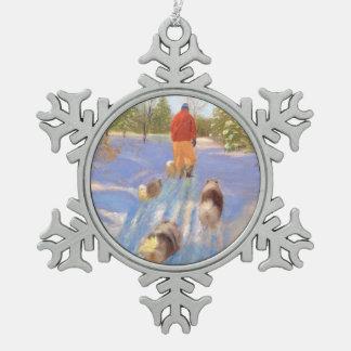 Een gang in het BosOrnament van de Sneeuwvlok van Tin Sneeuwvlok Ornament
