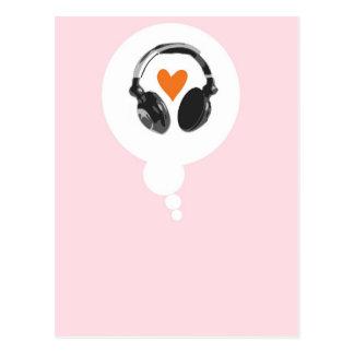 Een gedachte bel met een hart en hoofdtelefoons briefkaart