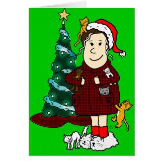 Een 'gekke Kat Dame Christmas' Wenskaart