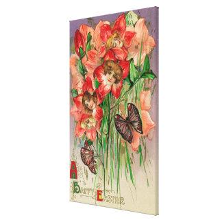 Een gelukkige Pasen met de HoofdBloemen van Vrouwe Stretched Canvas Afdrukken
