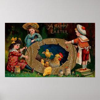 Een gelukkige Pasen Vintage Pasen Poster