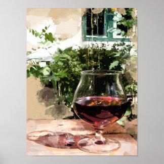 Een glas Wijn in de Tuin van de Zomer Poster