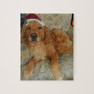 Een golden retriever bij Kerstmis met het Pet van Legpuzzel
