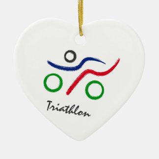 Een grote gift Triathlon voor uw vriend of familie Keramisch Hart Ornament